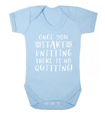Once you start knitting there is no quitting! Baby Vest pale blue 18-24 months