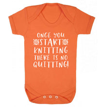 Once you start knitting there is no quitting! Baby Vest orange 18-24 months