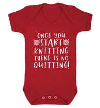 Once you start knitting there is no quitting! Baby Vest red 18-24 months