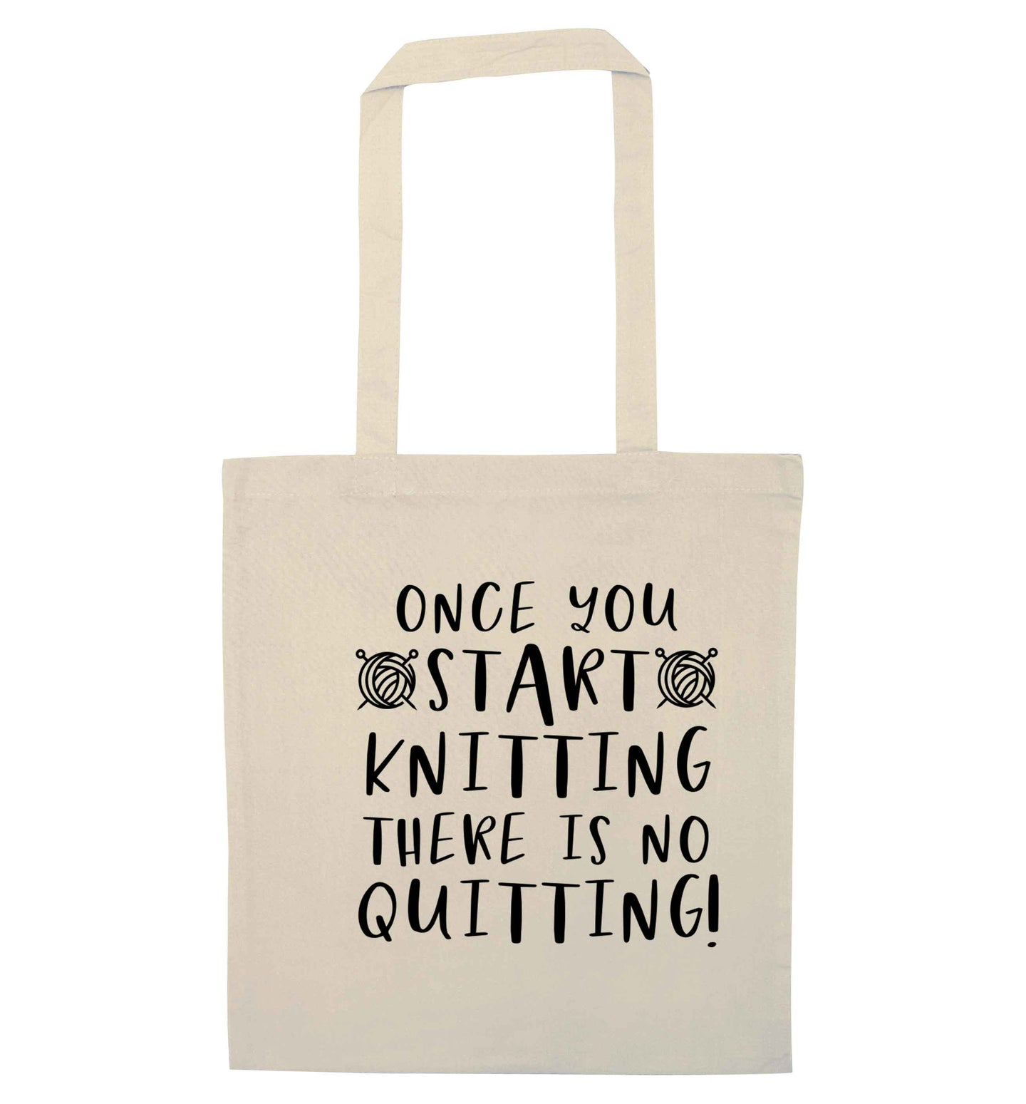 Once you start knitting there is no quitting! natural tote bag