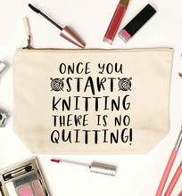 Once you start knitting there is no quitting! natural makeup bag