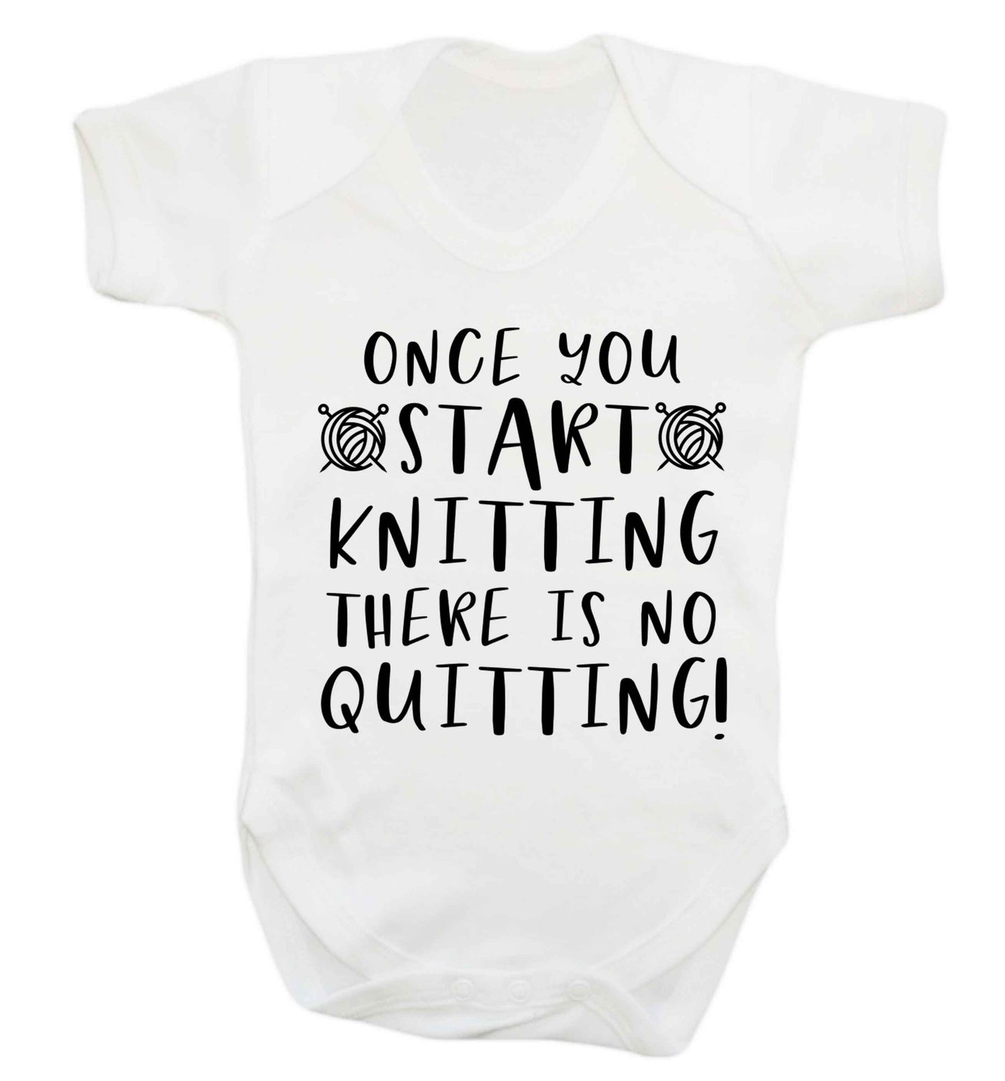 Once you start knitting there is no quitting! Baby Vest white 18-24 months