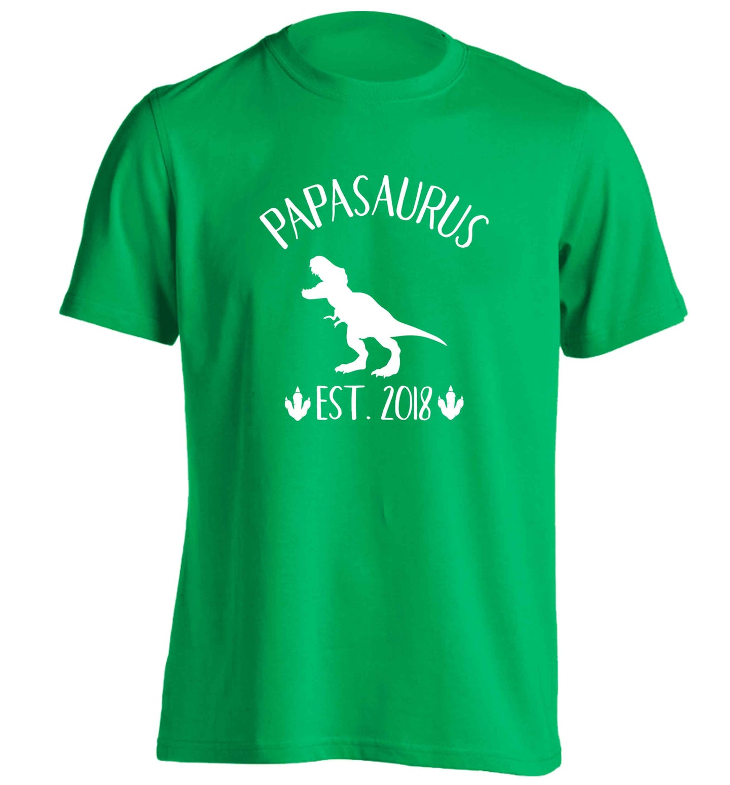 Personalised papasaurus since (custom date) adults unisex green Tshirt 2XL