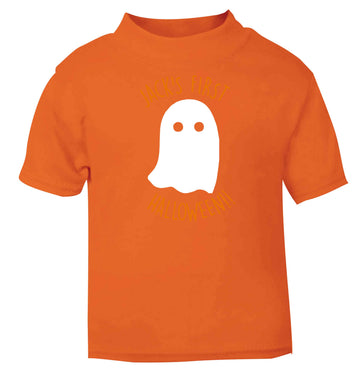 Personalised first halloween - ghost orange baby toddler Tshirt 2 Years