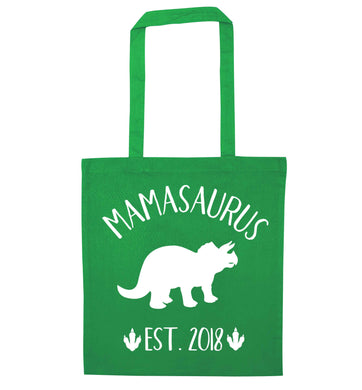 Personalised mamasaurus date green tote bag