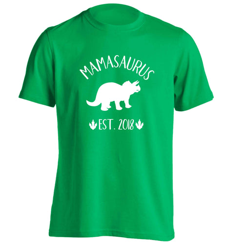 Personalised mamasaurus date adults unisex green Tshirt small