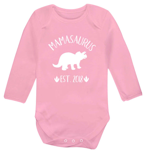Personalised mamasaurus date baby vest long sleeved pale pink 6-12 months