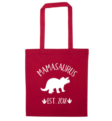Personalised mamasaurus since (custom date) red tote bag