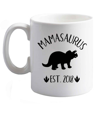 10 oz Personalised mamasaurus date ceramic mug right handed