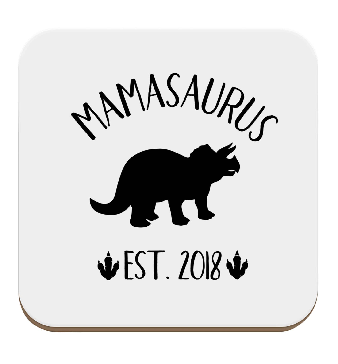 Personalised mamasaurus date set of four coasters