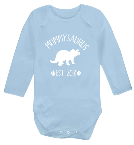 Personalised mummysaurus date baby vest long sleeved pale blue 6-12 months