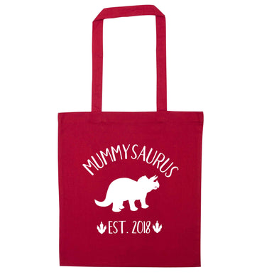 Personalised mummysaurus since (custom date) red tote bag