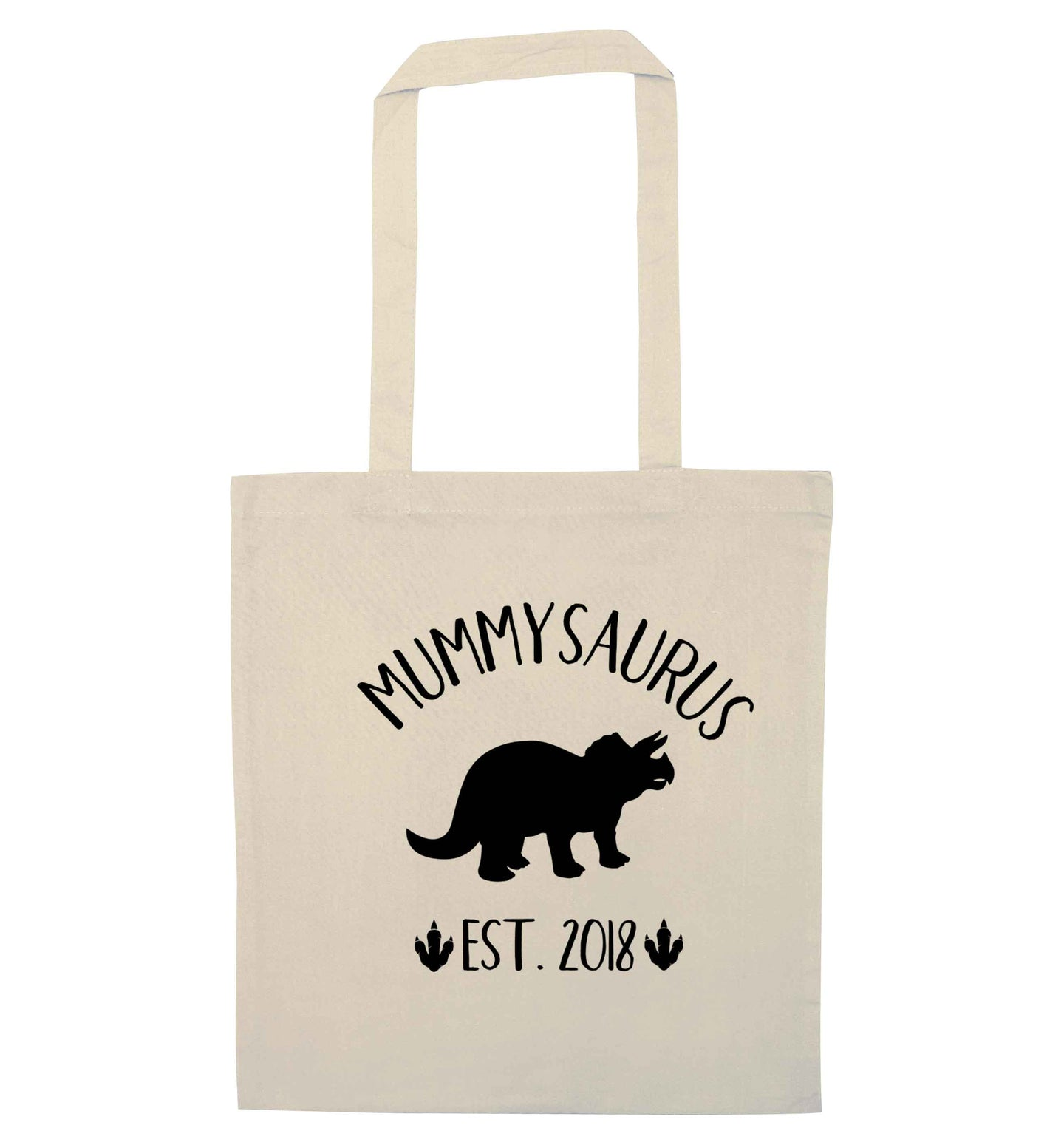 Personalised mummysaurus since (custom date) natural tote bag
