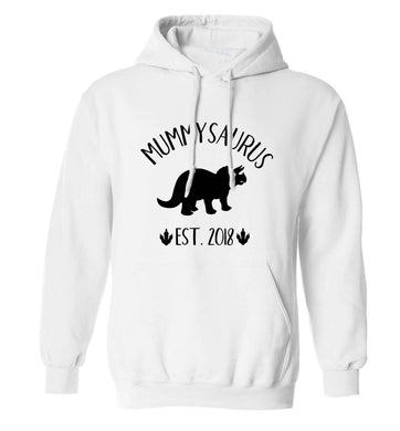 Personalised mummysaurus date adults unisex white hoodie 2XL