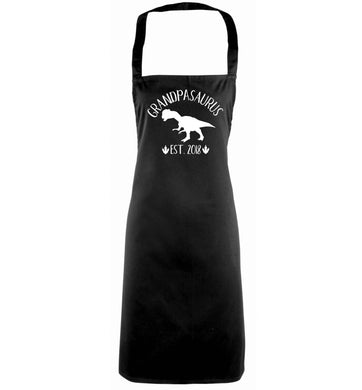 Personalised grandpasaurus since (custom date) black apron