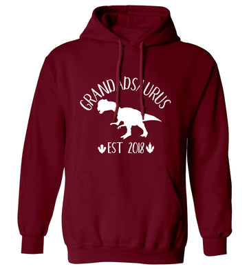 Personalised grandadsaurus since (custom date) adults unisex maroon hoodie 2XL
