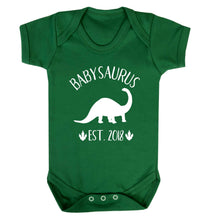 Personalised babysaurus since (custom date) Baby Vest green 18-24 months