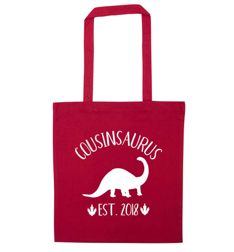 Personalised cousinsaurus since (custom date) red tote bag