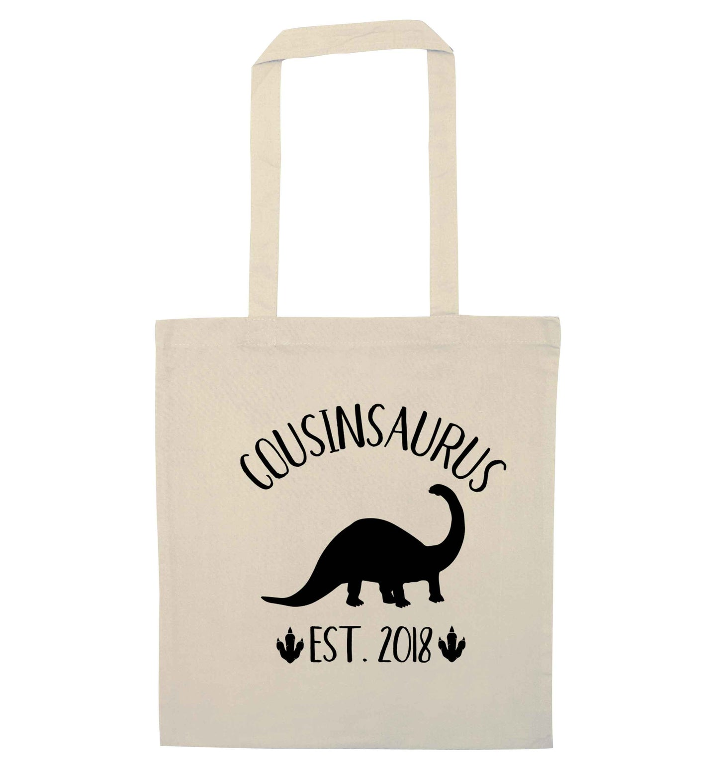 Personalised cousinsaurus since (custom date) natural tote bag