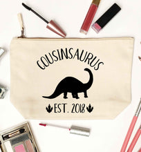 Personalised cousinsaurus since (custom date) natural makeup bag