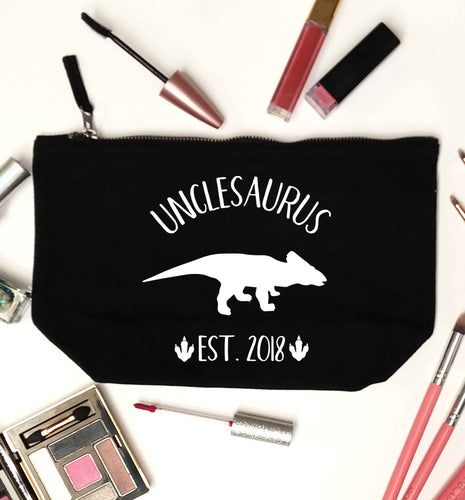 Personalised unclesaurus since (custom date) black makeup bag