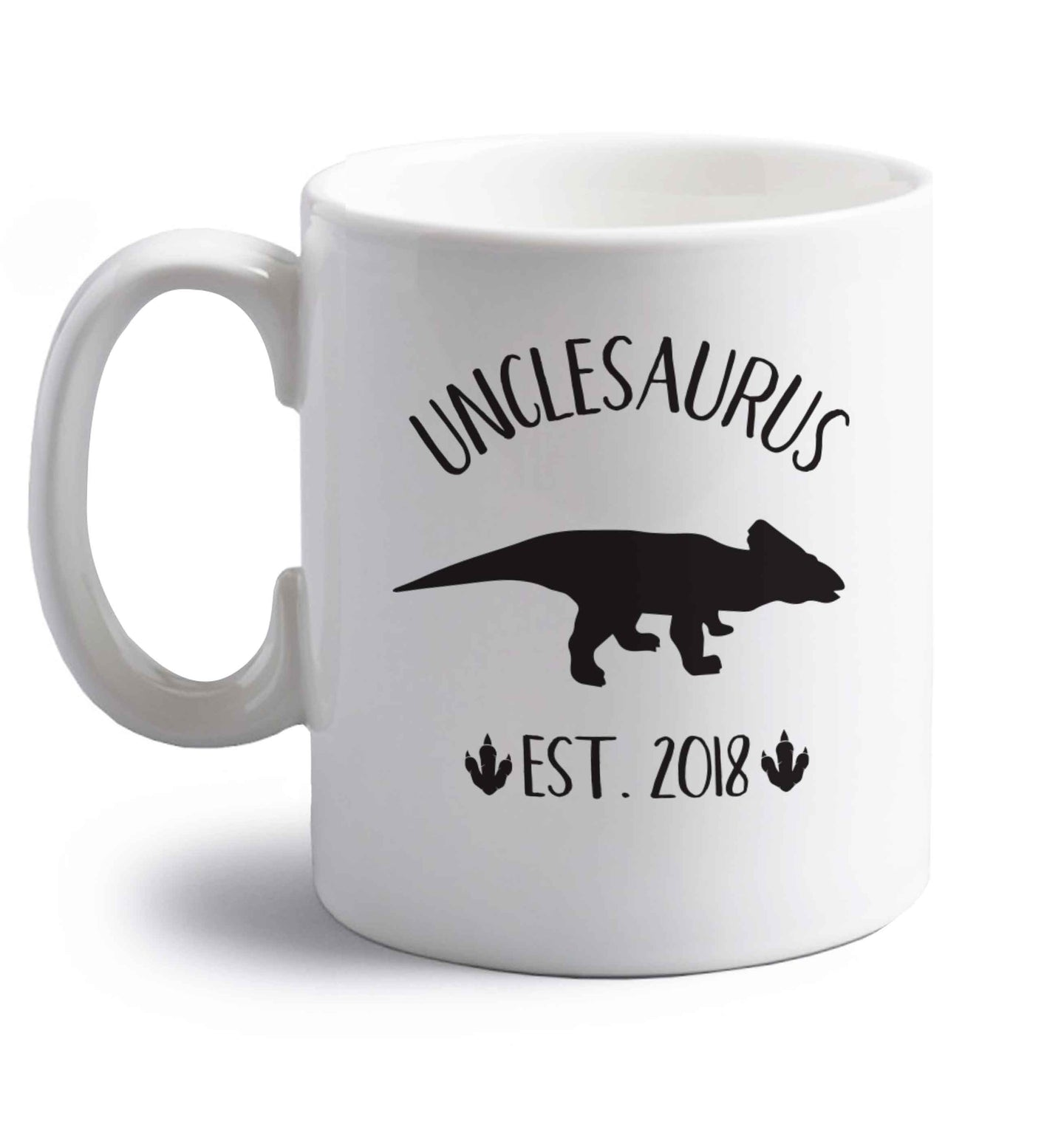 Personalised unclesaurus since (custom date) right handed white ceramic mug