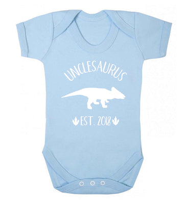 Personalised unclesaurus since (custom date) Baby Vest pale blue 18-24 months