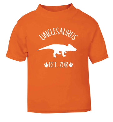 Personalised unclesaurus since (custom date) orange Baby Toddler Tshirt 2 Years