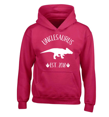 Personalised unclesaurus since (custom date) children's pink hoodie 12-13 Years