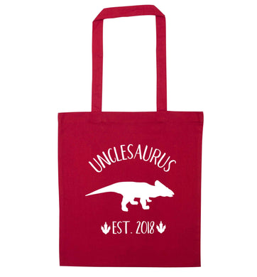 Personalised unclesaurus since (custom date) red tote bag