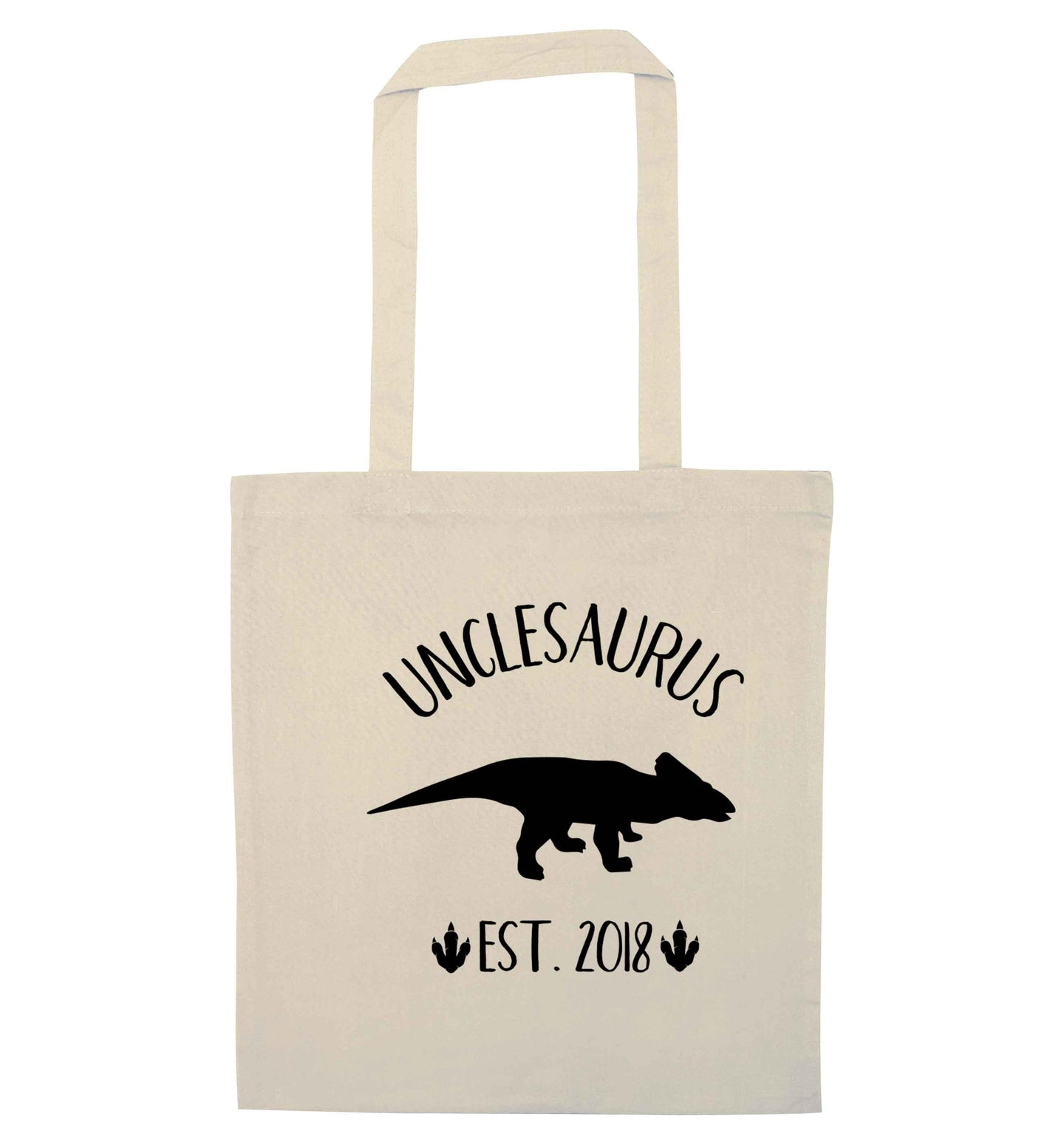Personalised unclesaurus since (custom date) natural tote bag