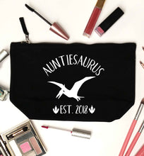 Personalised auntiesaurus since (custom date) black makeup bag