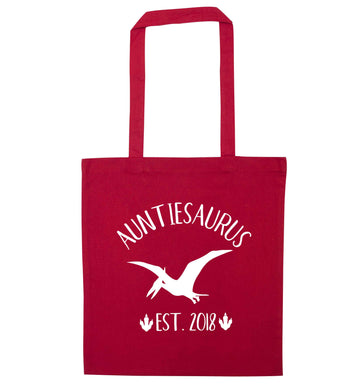 Personalised auntiesaurus since (custom date) red tote bag