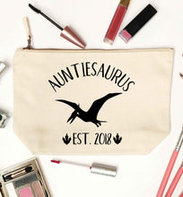 Personalised auntiesaurus since (custom date) natural makeup bag
