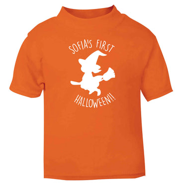 Personalised first halloween - Witch orange baby toddler Tshirt 2 Years