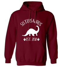 Personalised sistersaurus since (custom date) adults unisex maroon hoodie 2XL