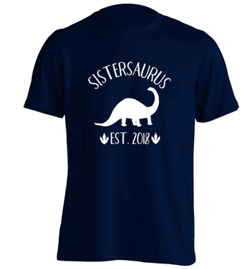 Personalised sistersaurus since (custom date) adults unisex navy Tshirt 2XL