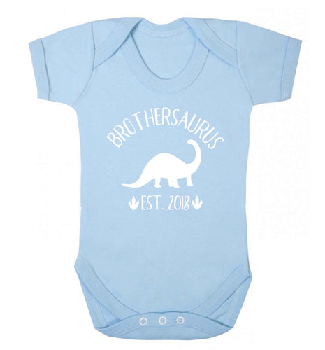 Personalised brothersaurus since (custom date) Baby Vest pale blue 18-24 months