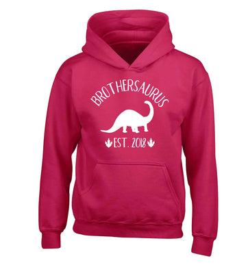 Personalised brothersaurus since (custom date) children's pink hoodie 12-13 Years