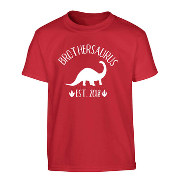 Personalised brothersaurus since (custom date) Children's red Tshirt 12-13 Years