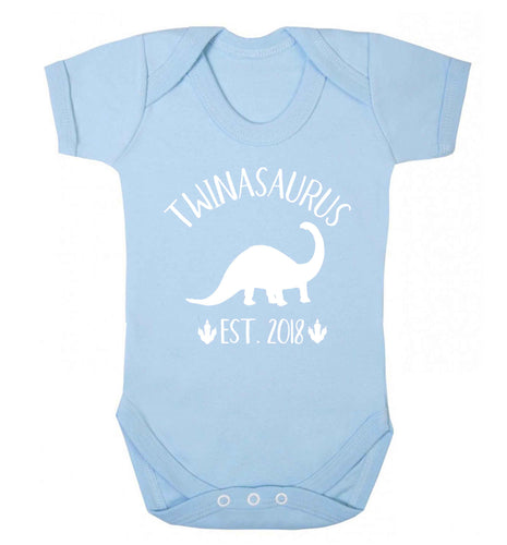 Personalised twinasaurus since (custom date) Baby Vest pale blue 18-24 months