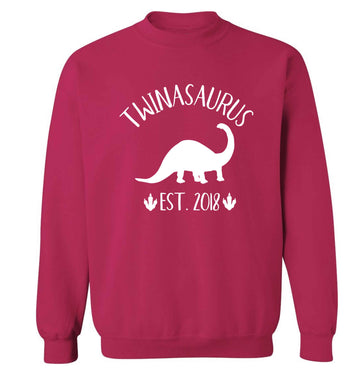Personalised twinasaurus since (custom date) Adult's unisex pink Sweater 2XL