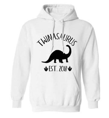 Personalised twinasaurus since (custom date) adults unisex white hoodie 2XL