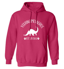 Personalised (your name) dinosaur birthday adults unisex pink hoodie 2XL