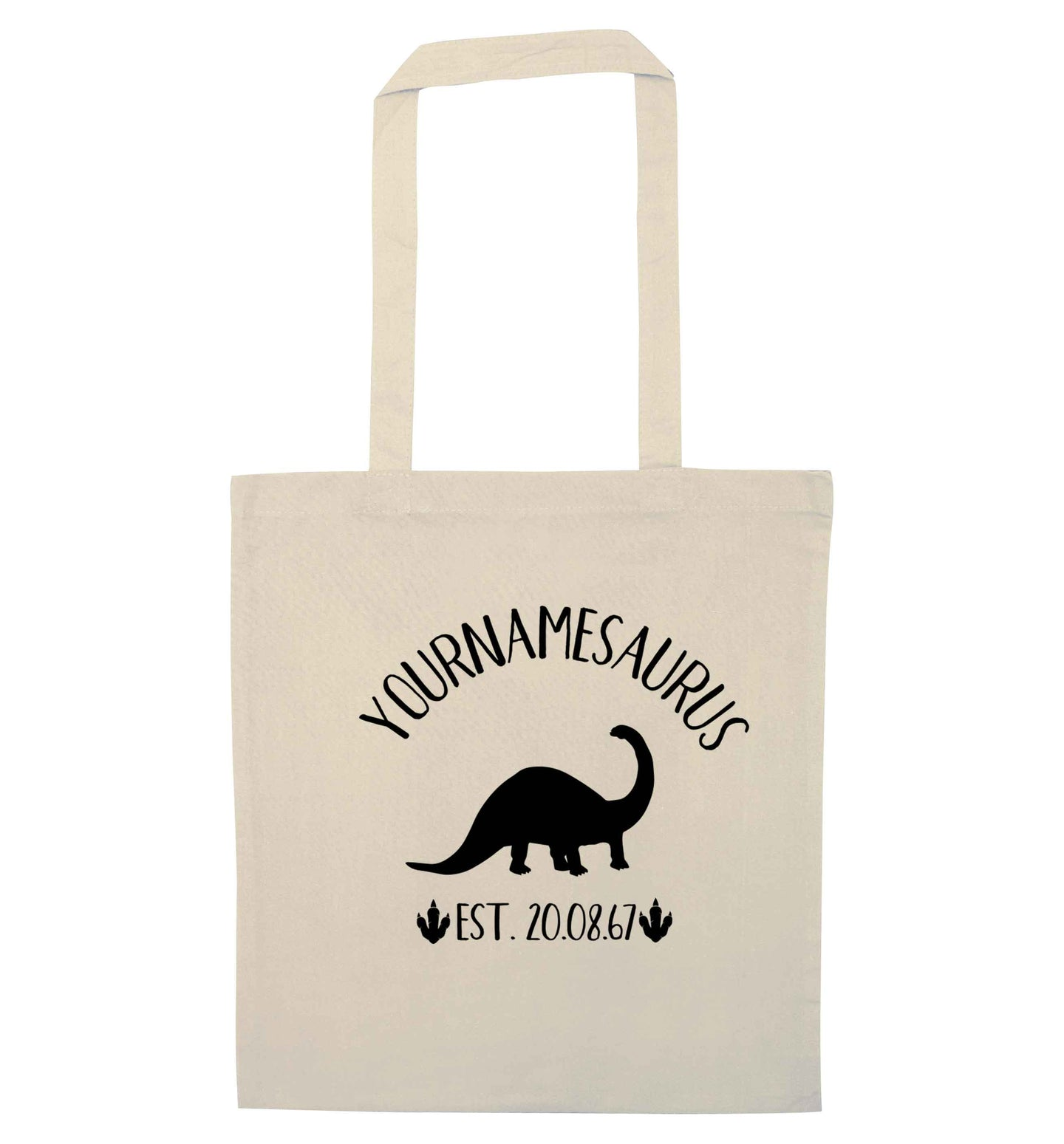 Personalised (your name) dinosaur birthday natural tote bag