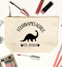 Personalised (your name) dinosaur birthday natural makeup bag