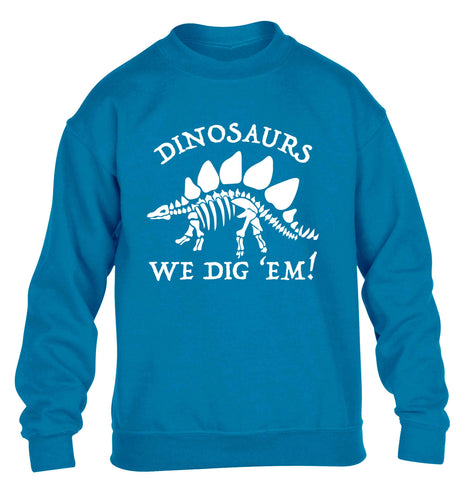 Dinosaurs we dig 'em! children's blue sweater 12-13 Years