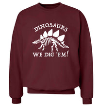 Dinosaurs we dig 'em! Adult's unisex maroon Sweater 2XL