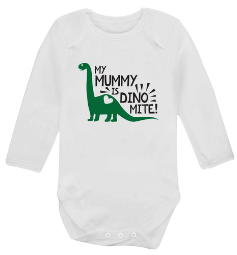 My mummy is dinomite baby vest long sleeved white 6-12 months