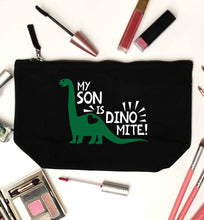 My son is dinomite! black makeup bag